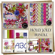 Holly Jolly {Bundle} Customer Appreciation, Free Digital Scrapbooking, Project 365, Vintage Ephemera, Journal Cards, Flourish, Word Art, Swirls, Alphabet