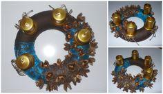 Adventní věnec_střední: modro-hnědo-zlatý Polystyrenový korpus zdoben textilíí, vánočním tylem, zlacenými přírodninami.