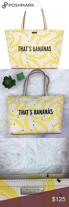 """Kate Spade That's Bananas Francis Summer Tote It's summer time in the style department with this durable, beautifully designed banana print tote. Cotton canvas with leather trim. Zip top. Interior pockets. Leather bottom. 13x11x6. 8.5"""" strap drop. New with tags and perfect condition. Ships same day from a smoke free home! No trades 🎀 kate spade Bags Totes"""