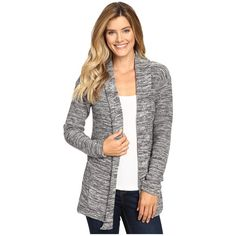 Columbia Rocky Range Long Cardigan (Chalk) Women's Sweater ($65) ❤ liked on Polyvore featuring tops, cardigans, white top, long knit cardigan, shawl collar cardigan, layering cardigans and white cardigan