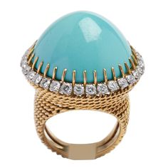 BOUCHERON Gold, Diamond and Turquoise Ring Circa 1970   From a unique collection of vintage dome rings at http://www.1stdibs.com/jewelry/rings/dome-rings/