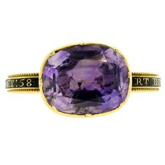 Amethyst memorial ring for Prime Minister George Grenville, England  Circa 1770