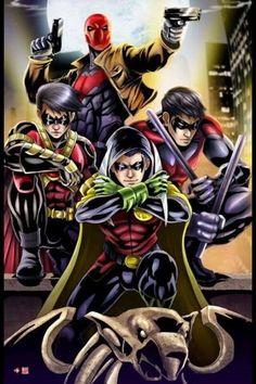 Robins - Damian Wayne, Tim Drake, Jason Todd & Dick Grayson