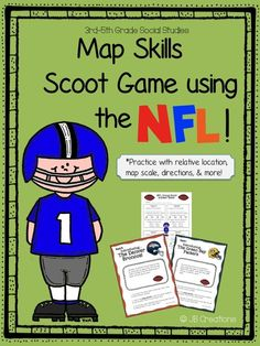 Who's ready for some football with a twist of social studies?? Students will have the opportunity to collaborate on key map skills such as using map scale, relative location, directions, state identification, etc. in this high interest group scoot game! Includes 8 different color team scenario cards, a colored team map, a student recording sheet, and a complete answer key! http://www.teacherspayteachers.com/Product/Map-Skill-Scoot-with-the-NFL-3rd-4th-5th-grade-1479664