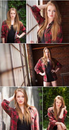 Senior Portraits, in red plaid flannel shirt at industrial warehouse, Blanc in Denver, with portrait photographer Jennifer Koskinen of Merritt Portrait Studio