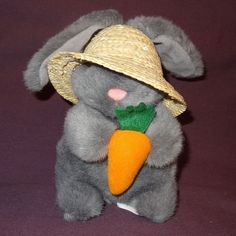 Fun gray Easter Bunny holding a carrot and wearing a straw hat. Theme: Bunny Rabbit holding carrot. Item: Plush / S tuffed A nimal. Color: Gray, Orange. Weight of item: 3 ounces. | eBay!
