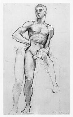 """John Singer Sargent Study for Apollo, """"Classic and Romantic Art,"""" Museum of Fine Arts, Boston mural project"""