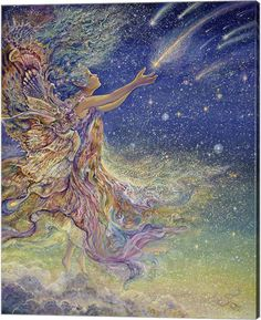 catch a Falling Star by Josephine Wall Fairy Myth Mythical Mystical Legend Elf Faerie Fae Wings Fantasy Elves Faries Sprite Nymph Pixie Faeries Hadas Enchantment Forest Whimsical Whimsy Mischievous Josephine Wall, Fantasy Kunst, Fantasy Art, Art Expo, Falling Stars, Fantasy Paintings, Visionary Art, Fairy Art, Art Plastique