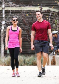 Lea Michele and Jonathan Groff go hiking. #Broadwaybabies!