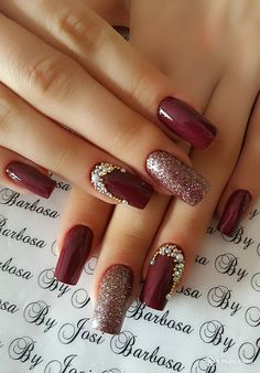 12 Stunning Red Dark Nail Art Designs Ideas for 2019 : Have a look! check out these 12 Stunning Red Dark Nail Art designs Ideas. All the red lovers can try any of these to make a statement. Fall Nail Art Designs, Red Nail Designs, Nail Polish Designs, Nails Design, Christmas Nail Art, Holiday Nails, Fall Nails, Cute Nails, Pretty Nails