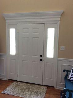 new Ideas front door trim ideas moldings wainscoting Front Door Molding, Front Door Trims, Best Front Doors, Front Door Entrance, Front Door Design, Door Header, Moldings And Trim, Crown Moldings, Window Molding Trim