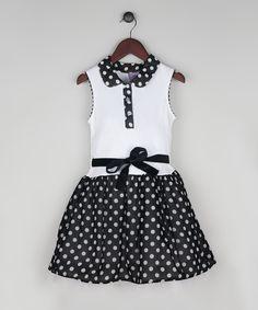 Look at this Joe-Ella Black & White Polka Dot Drop-Waist Dress - Toddler & Girls on #zulily today!