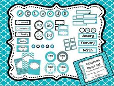 Classroom Decor Pack: Turquoise and Black Theme Includes: welcome sign, name tags, birthday board, word wall and so much more! Owl Classroom, Classroom Layout, Classroom Decor Themes, Classroom Setting, Classroom Design, Future Classroom, Classroom Organization, Classroom Management, Organizing School