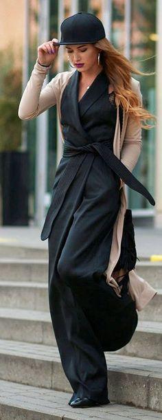 Black Wrap Inspiration Jumpsuit by Maffashion