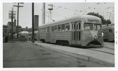 Capital Transit St. Louis Car Co. Pre-PCC Streamliner at Friendship Heights Car Barn (1950s).