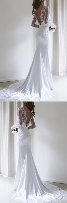 Lace White Wedding Dresses Elegant Lace Long Sleeves Mermaid White Long Wedding Dress with ., Lace white wedding dresses Elegant lace long sleeves Mermaid White long wedding dress with train, White Lace Wedding Dress, Wedding Dress Train, Stunning Wedding Dresses, Wedding Dress Sleeves, Long Sleeve Wedding, Modest Wedding Dresses, Elegant Dresses, Wedding Gowns, Lace Dress