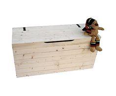 cassapanca contenitore in legno massello naturale 100x35x33 cm