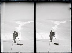 Antarctica: Frank Hurley.  Frank Hurley was an exceptional photographer and his Antarctic visits covered a substantial part of the Heroic Age of Antarctic exploration. Frank Hurley photographing on the brink of the Great Ice Wall,1911 - 1914, by Frank Hurley. Glass stereo negative. From the collection of the State Library of NSW.
