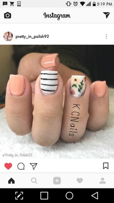 Peach and stripes flower nails Flower Nail Designs, Nail Designs Spring, Striped Nail Designs, Cute Nails, Pretty Nails, Hair And Nails, My Nails, Nails For Kids, Manicure Y Pedicure