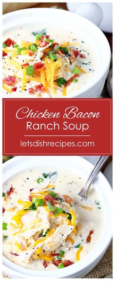 Slow Cooker Chicken Bacon Ranch Soup Recipe -- This creamy slow cooked soup is loaded with tender chicken, cheddar cheese, crispy bacon, fresh spinach, and a hint of Ranch seasoning. Total comfort food! #soup #slowcooker #dinner #recipes