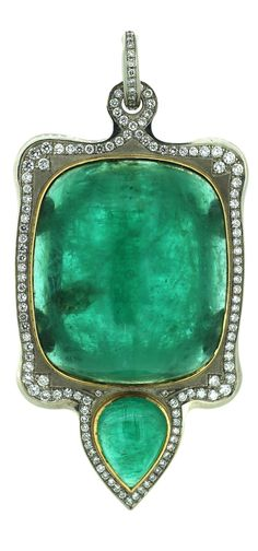 A Belle Epoque gold, emerald and diamond pendant, Russian, circa 1900. Featuring a large rectangular cabochon emerald with rounded edges, originating from the old mines of the Urals and weighing approximately 150 carats, framed by diamonds, terminating in a pear-shaped emerald weighing 10 carats. With Cyrillic signature. 9.5 x 4.5cm. #BelleÉpoque #pendant