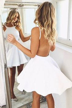 Simple Short White Backless Homecoming Dress Party Dress Prom Dress-Pgmdress #dressescasualspring