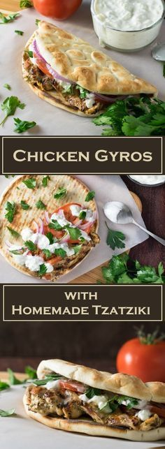 Chicken Gyros with Homemade Tzatziki Sauce Recipe