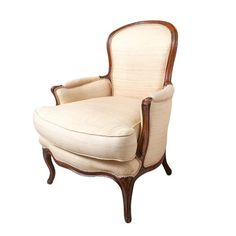 Recently reupholstered in a beige silk. Nice carving on the foot. Antique Armchairs, Balloon Display, Bergere Chair, Accent Chairs, Carving, French, Antiques, Furniture, Home Decor