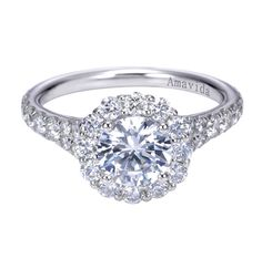 18K White Gold Contemporary Halo Engagement Ring