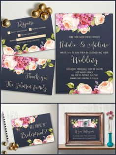 Printable Floral Wedding Invitation Set - Navy & Pink Boho Wedding invitation, Peony & Hydrangea Invitation  • wedding invitation (5x7, fits inside A7
