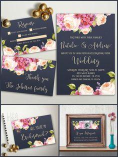 Printable Floral Wedding Invitation Set - Navy & Pink Boho Wedding invitation, Peony & Hydrangea Invitation • wedding invitation (5x7, fits inside A7