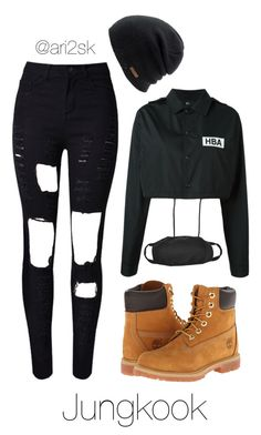 """Nyc with BTS- Jungkook"" by ari2sk ❤ liked on Polyvore featuring WithChic, Coal, Timberland and Hood by Air"