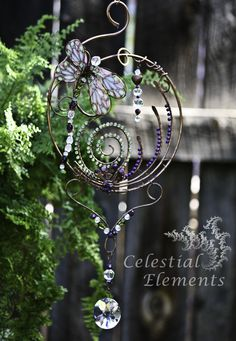"True nature is found here. With a beautiful dragonfly made of gems and polyclay wings. Copper wire bent in wonderful designs. A piece of window art to adorn your sunny window. 7 3/4"" x 14"" find me on newmoonelements.blogspot.com"