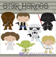 Star Heroes Clip Art Set -Personal and Limited Commercial- Trooper, Princess, Wars by DorkyPrints on Etsy https://www.etsy.com/listing/127852941/star-heroes-clip-art-set-personal-and