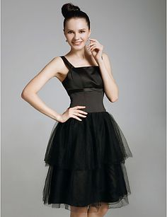 Cocktail Party/Prom/Holiday/Sweet 16 Dress - Black Plus Sizes A-line/Princess Straps/Square Knee-length Satin/Organza – CAD $ 55.59