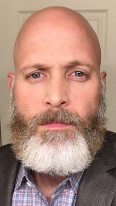 Bald Head With Beard, Bald Men With Beards, Grey Beards, Bald Man, Big Blue Eyes, Bald Heads, Head Shapes, Beard No Mustache, Beard Styles