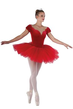 15440 Eternal Flame | Ballet Pointe Dance Costumes | Dansco 2015 | Red velvet and spandex leotard with nude mesh inserts. Separate red chiffon over net tutu. Rhinestone trim.