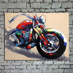 Oil painting on canvasmotorcycle by ApeArtStudio on Etsy