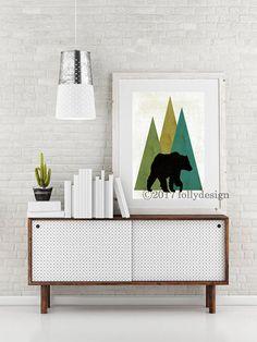 Artist Shanni Welsh's Woodland Bear art print. Bear poster Black Bear home décor. Bear wall art. Lodge décor. Camping art. Gift for camper. Outdoor art.