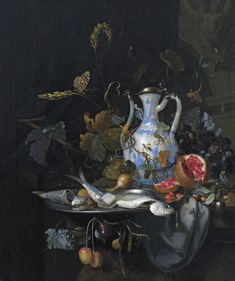 """Still Life with Chinese Porcelain Jug"" -- 1686 -- Jan Mortel -- Oil on canvas -- Private Collection. CERAMICS : Chongzhen Late Ming Ewer, the silver mounts are Dutch. Dutch Still Life, Still Life Art, Baroque Art, Dutch Golden Age, Dutch Painters, Dutch Artists, Vanitas, Nature Paintings, Pretty Wallpapers"