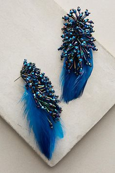 Delaney Blue Feather Drops - anthropologie.com