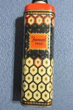 1920's Freeman's Talc Powder Tin Full- RARE, orange, black and gold #Freemans