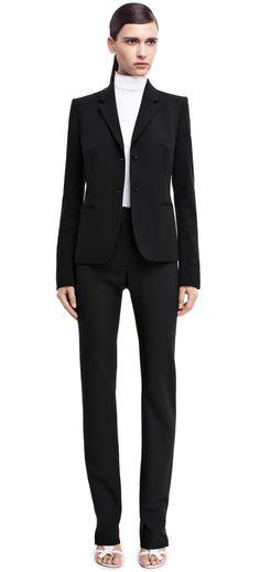 Slim wool str black suit jacket #AcneStudios #PreFall2014