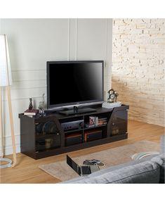 Open Shelving, Adjustable Shelving, Shelves, Espresso Tv Stand, Tv Stand Set, Glass Front Cabinets, Tv Cabinets, Tempered Glass Door, Cool Tv Stands