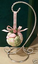 Shabby Pink Green Christmas Victorian Ornament Roses