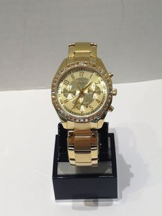 Ladies Caravelle New York chronograph yellow with crystals Michael Kors Watch, Chronograph, York, Watches, Crystals, Yellow, Lady, Accessories, Fashion