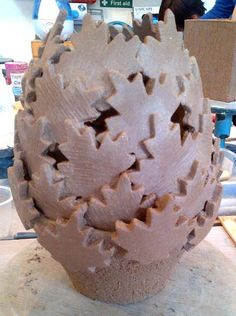 Hand built ceramic vessel constructed with paper clay patches (Herle Mette Andersen), Dublin based weekend course. Fired later to 1260°C (Cone 8). www.ceramicforms.com