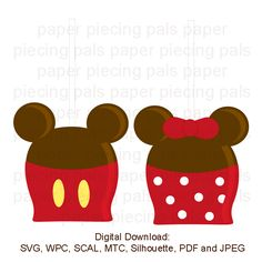 SVG cut file.  Minnie and Mickey Candy Apples
