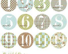 12 meses Bebé Onesie Clip Art para Scrapbooking, invitaciones, Productos Papel, fabricación de la tarjeta - Carson