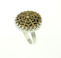 Filigree button set in sterling silver